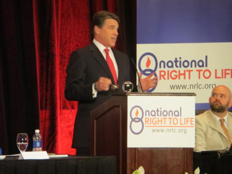 Gov. Rick Perry addresses National Right to Life Convention meeting in Dallas.