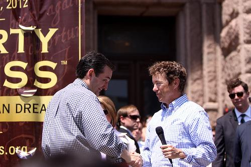 Sen. Ted Cruz and Sen. Rand Paul at a Tea Party rally in Austin.