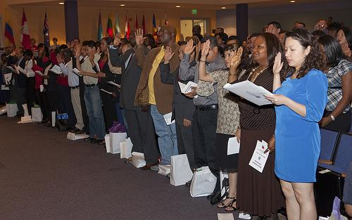 A naturalization ceremony in Frederick, Maryland.
