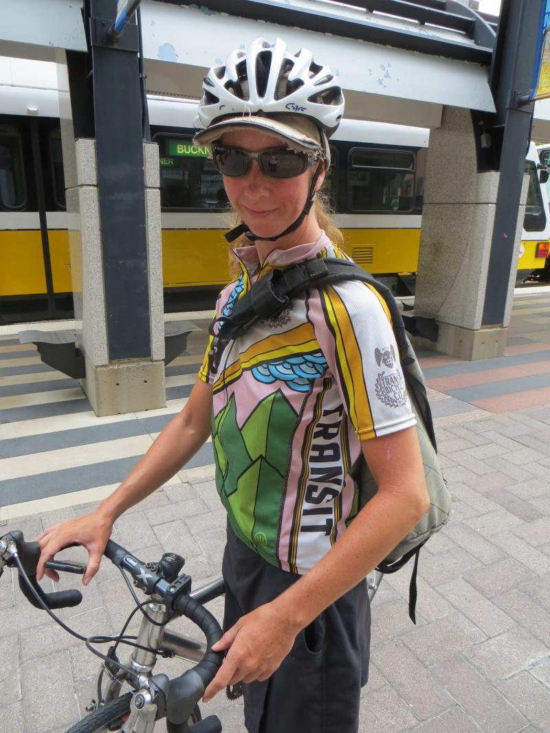 Bicycle messenger Christina Jones peddles about 150 miles a week.  She says its becoming easier for a  bike to be a person's primary mode of travel.