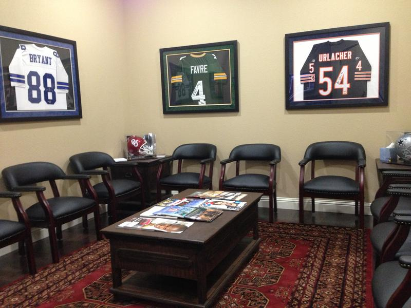 "Like all the rooms at the Southlake Low T Center, the waiting room (AKA the ""Man Cave"") is decorated with sports memorabilia and has ESPN on all day."