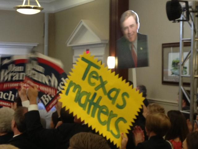 Dan Branch supporters packed into the Karcher Auditorium at the SMU Dedman School of Law to hear Rep. Dan Branch Announce His Run for Attorney General.