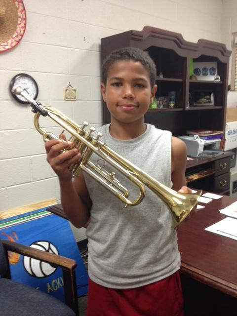 Connell Overstreet is the proud recipient of one of Trumpets4Kids' instruments.