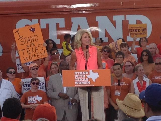 "Senator Wendy Davis spoke to a cheering crowd in Fort Worth on the ""Stand with TX Women"" Bus Tour"