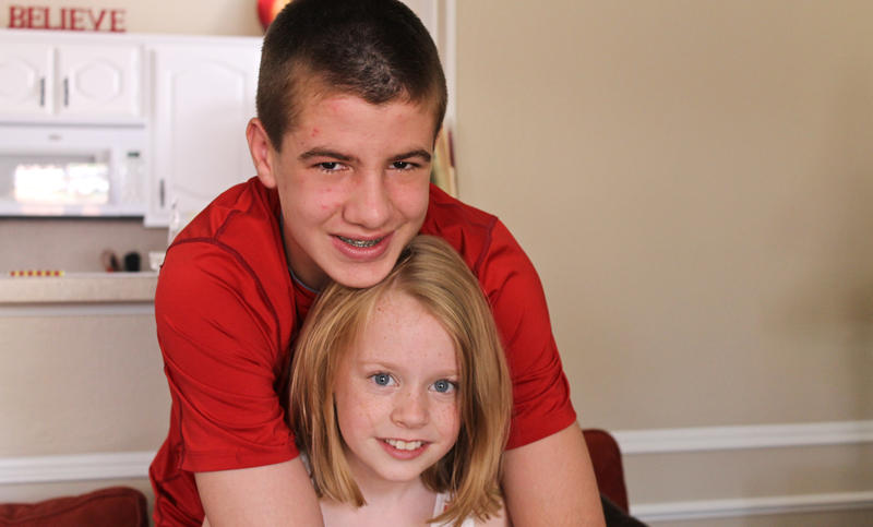 Jerry Harris, 14, at home in Coppell with his 9-year-old sister Abbey.