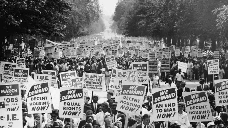 Hundreds of thousands of demonstrators walk down Constitution Avenue during the March on Washington for Jobs and Freedom in 1963.