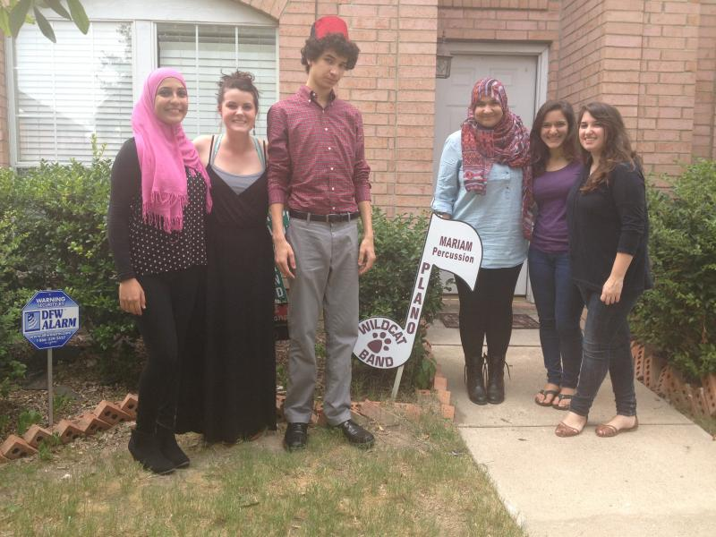 Aamenah Hmimy, Rachel Magruder, Ibrahim El-Rayes, and sisters Laila and Dalia Abdelghani visiting from Cairo celebrated Eid at Mariam and her brother Ibrahim's house in Plano.