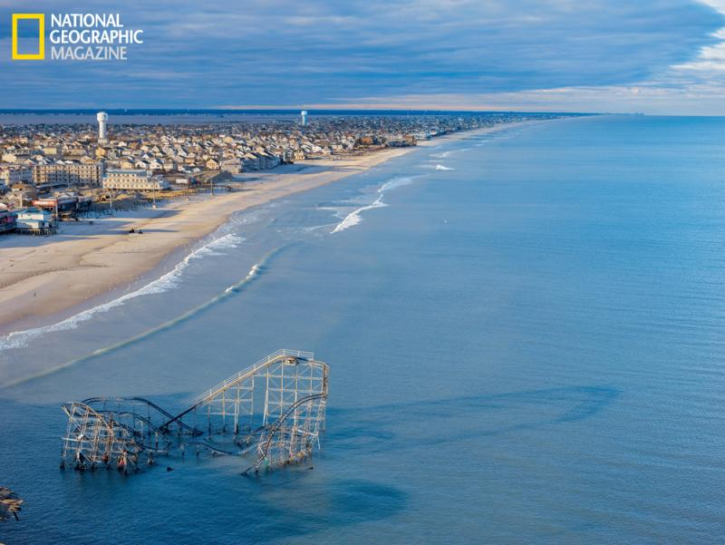 Superstorm Sandy narrowed New Jersey's beaches by more than 30 feet on average. At Seaside Heights it swept away the pier under the roller coaster.
