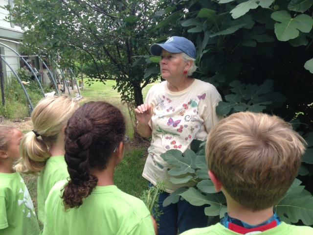 Sue teaching the First Baptist Church of Denton kids about farm pests.