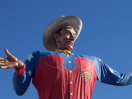 Big Tex in clothing provided by Dickies, a Fort Worth company.