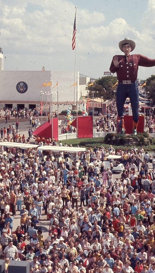 Big Tex in 1973. He gets a new outfit every few years. These days, Dickies in Fort Worth makes his duds.