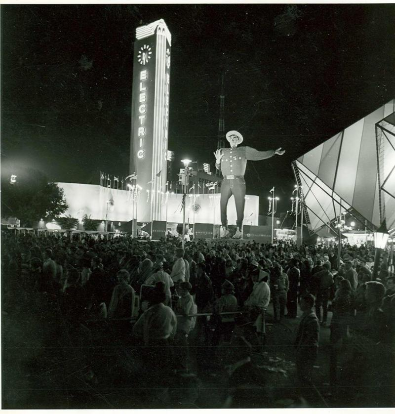 Big Tex at night was big and bright in the mid-'60s.