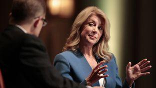 State Sen. Wendy Davis fields questions during Texas Tribune policy conference.