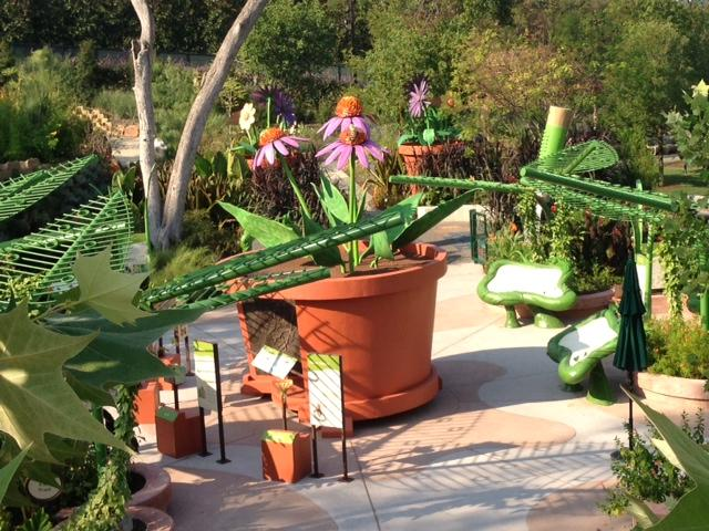 "A ""Honey I Shrunk the Kids"" inspired section of the Rory Meyers Children's Adventure Garden shows plant parts on a mega scale."