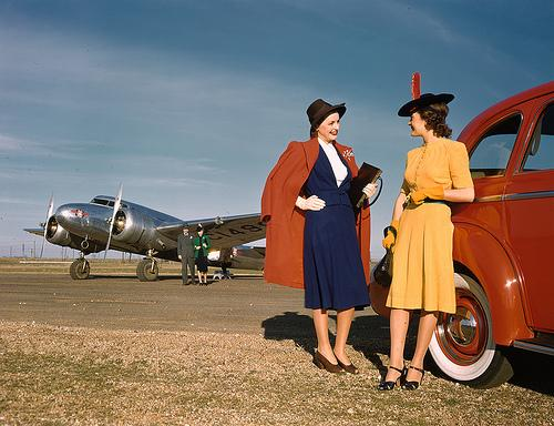 Neiman Marcus models pose with Delta Airlines planes in 1940.