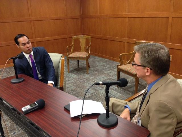 "Julián Castro (left), joins KERA's first ""Friday Conversation"" at the Dallas Federal Reserve Bank with KERA's Rick Holter."