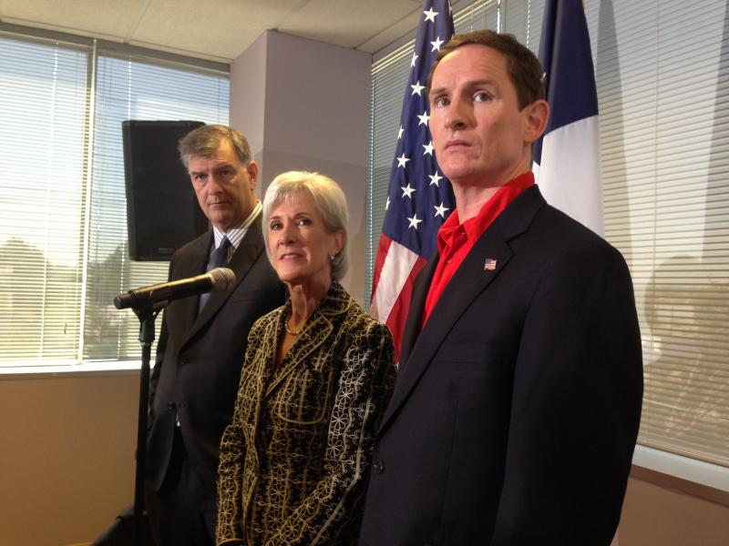 Dallas Mayor Mike Rawlings, with U.S. Health and Human Services Secretary Kathleen Sebelius and Dallas County Judge Clay Jenkins discussing the health insurance marketplace set to open Oct. 1st.