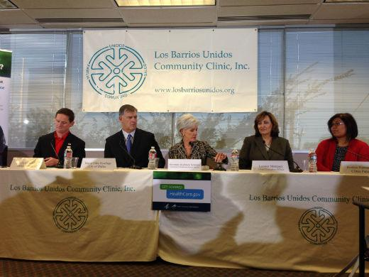 Kathleen Sebelius, the U.S. Health and Human Services Secretary, is in Dallas this morning.