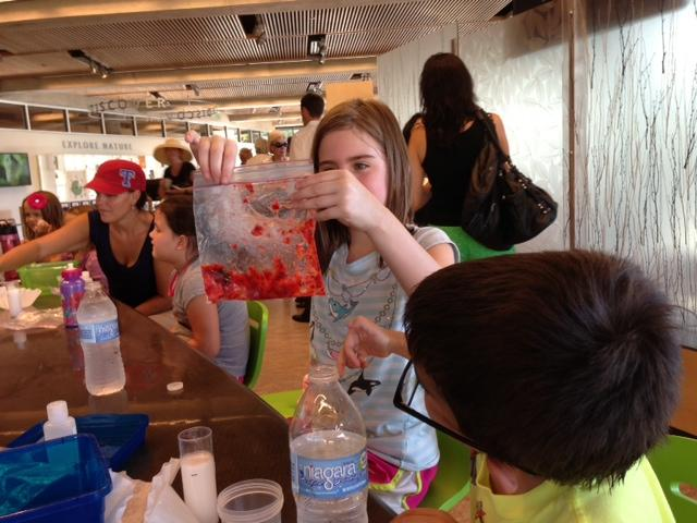 Kids working inside the Exploration Center to extract strawberry DNA.