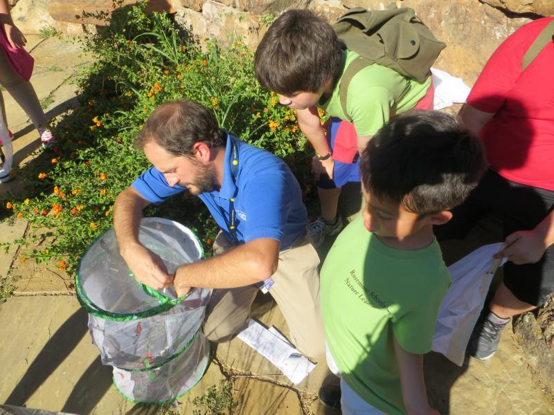 Teacher Bret Turner and students prepared to tag monarchs.