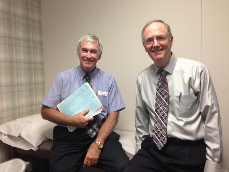 Both Dr. Calvin T. Simmons (left) and Dr. Edward Kremer have been practicing at Family Medical Associates in Lewisville, TX for decades. While Kremer has embraced electronic medical records, Simmons refuses to let go of paper.