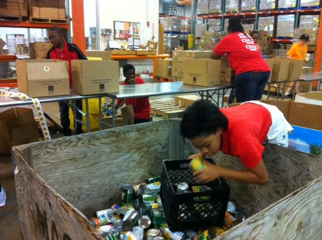 AW Browne Fellowship Leadership Academy students volunteered recently at the North Texas Food Bank.