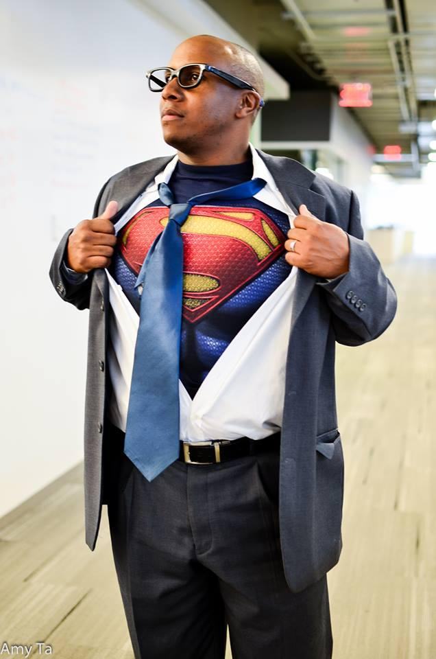 Here's Thom Woodward as Superman! He works for NPR's operations department in Washington, D.C.