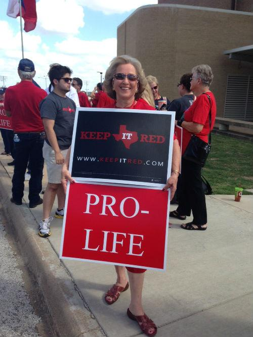 Opponents of abortion rights showed up in Haltom City on Thursday.