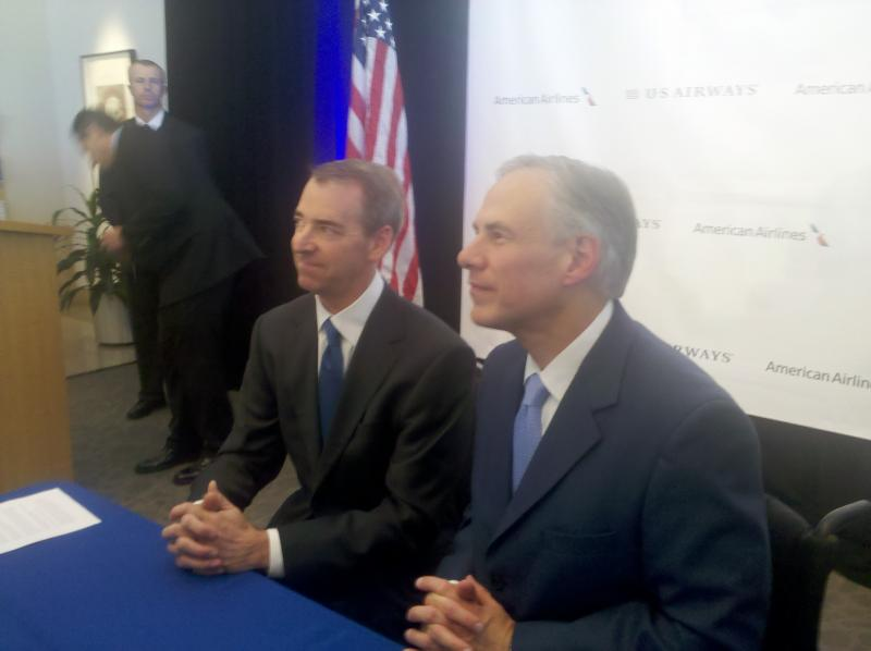 American Airlines' CEO Tom Horton appeared with Attorney General Greg Abbott who announced he's withdrawing opposition to American's merger with U.S. Airways.