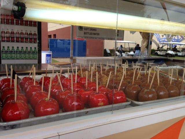 Candy and caramel apples are fairly low calorie. But because caramel is sometimes made with milk, ask first before you buy if you have a problem with dairy.