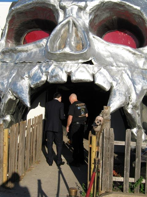 Might not be a good idea to head into a skeleton's mouth at Cutting Edge Haunted House.