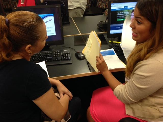 Felicitas Silva, left, signed up for health coverage on Tuesday.