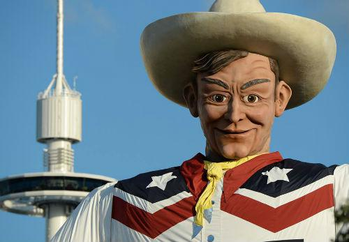 Big Tex burned down in 2012 and was rebuilt in time for the 2013 fair.