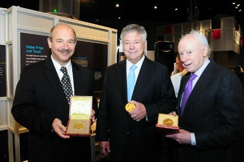 From left: Bruce Beutler, Michael Brown and Joseph Goldstein presented their Nobel awards to the Perot Museum of Nature and Science, which will put them on display.