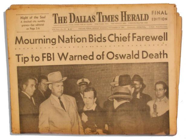 Dallas Times-Herald photographer Bob Jackson was awarded a Pulitzer Prize for capturing this picture of Lee Harvey Oswald getting shot.