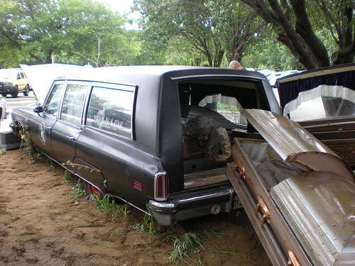This hearse at the Parker House needs to be hauled off to a mechanic.