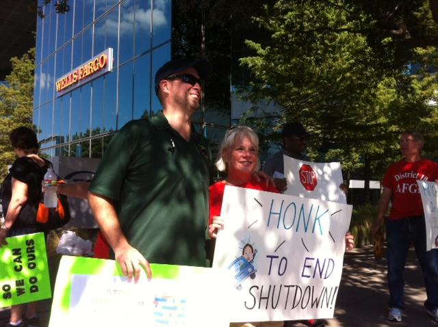 Clovis Steib, left, and Cheryl Scott are EPA colleagues who were protesting on Thursday.