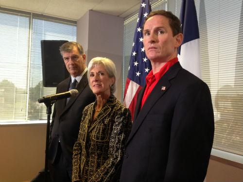 Dallas Mayor Mike Rawlings, with U.S. Health and Human Services Secretary Kathleen Sebelius and Dallas County Judge Clay Jenkins discussed the health insurance marketplace last month in Dallas.