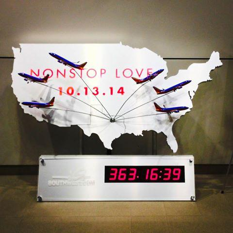 Southwest Airlines unveiled a one-year countdown clock at Dallas Love Field to mark the end of the Wright Amendment in October 2014.