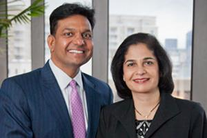 Satish and Yasmin Gupta are both graduates of the Irving university's MBA program.
