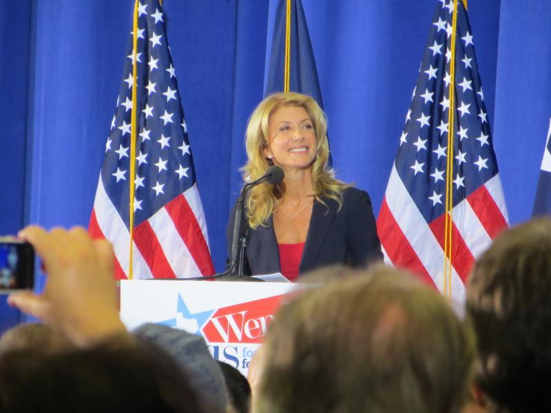 Sen. Wendy Davis announced her bid for governor from the Haltom City stage where she received her high school diploma.