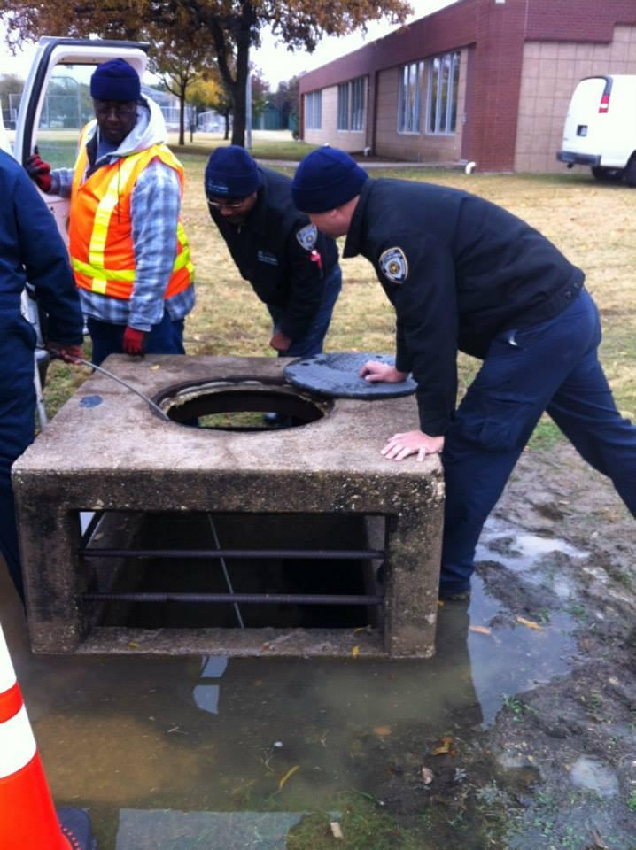Dallas city workers used a camera and a cage filled with bait to lure the dog out of the storm drain.