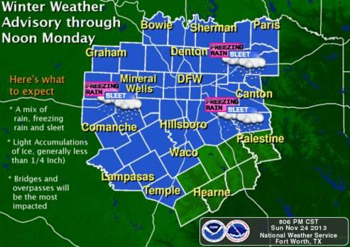 The weather won't be quite as bad as had been predicted -- North Texas is now under a winter weather advisory until noon Monday, downgraded from a winter storm warning.