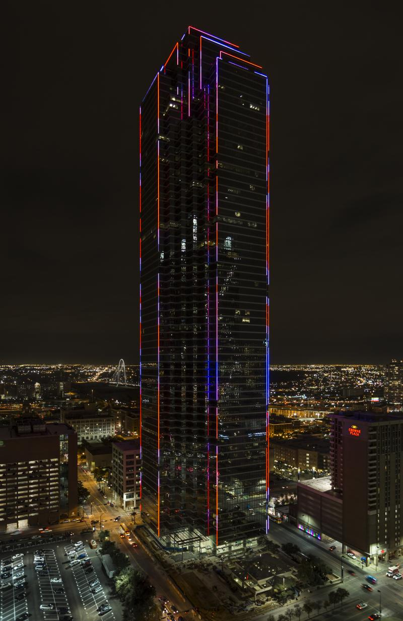 The new lights on Dallas' Bank of America Plaza will mostly be green. But the new LEDs are able to shift colors on command