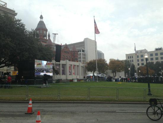 Scores of people have filled Dealey Plaza throughout the day Thursday.