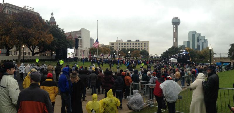 Crowds gathered at Dealey Plaza throughout the morning.