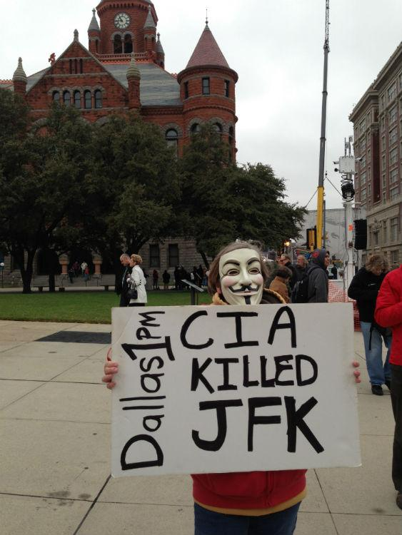 Darla Moody of Hallsville is one of the protestors near Dealey Plaza.