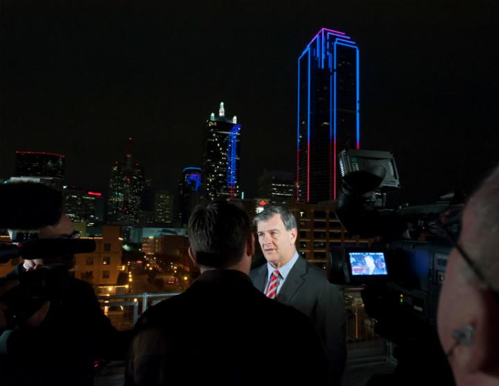 "Dallas Mayor Mike Rawlings called Dallas ""his Oz,"" and the totem for that is the Bank of America Plaza"