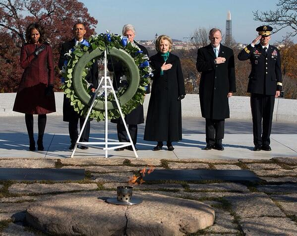 President Obama laid a wreath at President Kennedy's gravesite on Wednesday, two days before the 50th anniversary of his assassination.