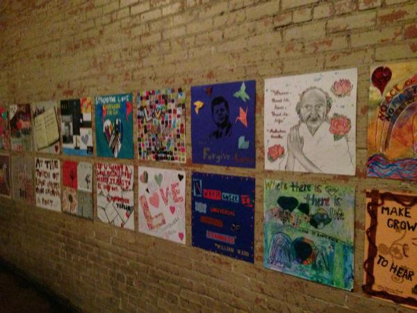 Some of the thousands of pieces of art made for the Dallas Love project.